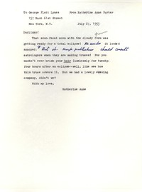 Letter from Katherine Anne Porter to George Platt Lynes, July 27, 1953