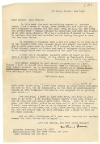 Letter from Katherine Anne Porter to Monroe Wheeler, June 19, 1937