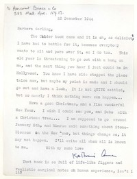 Letter from Katherine Anne Porter to Barbara Harrison Wescott, December 23, 1944