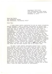 Letter from Katherine Anne Porter to Kay Boyle, November 04, 1974