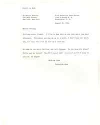 Letter from Katherine Anne Porter to Monroe Wheeler, August 26, 1944