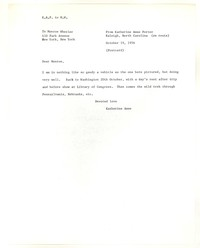 Letter from Katherine Anne Porter to Monroe Wheeler, October 19, 1956