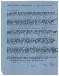 Letter from Katherine Anne Porter to Beatrice Roethke, April 11, 1965