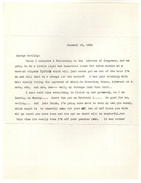 Letter from Katherine Anne Porter to George Platt Lynes, January 19, 1944