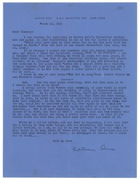 Letter from Katherine Anne Porter to Glenway Wescott, March 10, 1943
