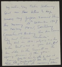 Katherine Anne Porter note, circa December 18, 1957