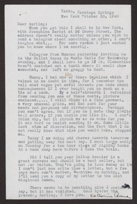 Letter from Katherine Anne Porter to Albert Erskine, October 20, 1940