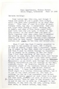 Letter from Katherine Anne Porter to Barbara Harrison Wescott, June 15, 1938