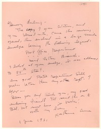 Letter from Katherine Anne Porter to Glenway Wescott, June 01, 1951