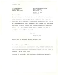 Letter from Katherine Anne Porter to Glenway Wescott, October 21, 1956
