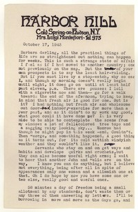 Letter from Katherine Anne Porter to Barbara Harrison Wescott, October 17, 1943