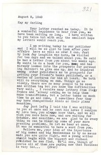 Letter from Katherine Anne Porter to Kay Boyle, August 09, 1940