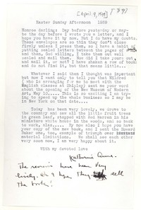 Letter from Katherine Anne Porter to Monroe Wheeler, April 09, 1939