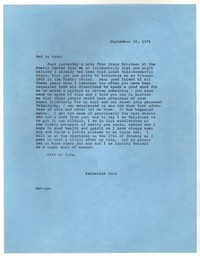 Letter from Katherine Anne Porter to Robert Penn Warren, September 28, 1976