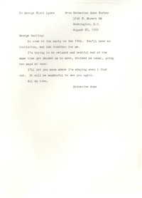 Letter from Katherine Anne Porter to George Platt Lynes, August 26, 1944