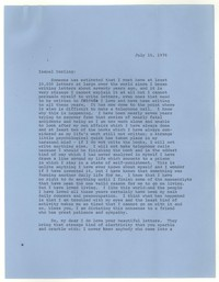 Letter from Katherine Anne Porter to Isabel Bayley, July 15, 1976