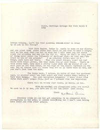 Letter from Katherine Anne Porter to George Platt Lynes, March 09, 1942