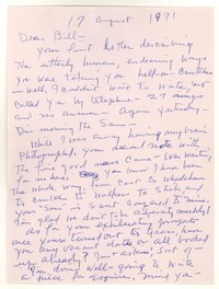Letter from Katherine Anne Porter to William Humphrey, August 17, 1971