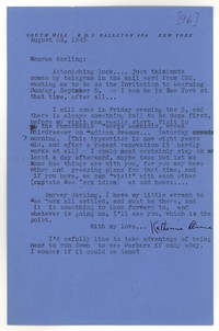 Letter from Katherine Anne Porter to Monroe Wheeler, August 24, 1943