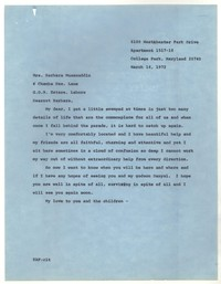 Letter from Katherine Anne Porter to Barbara Thompson Mueenuddin Davis, March 14, 1972