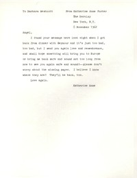 Letter from Katherine Anne Porter to Barbara Harrison Wescott, November 08, 1962