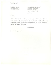 Letter from Katherine Anne Porter to Monroe Wheeler, September 28, 1953