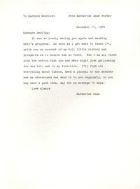 Letter from Katherine Anne Porter to Barbara Harrison Wescott, December 11, 1944