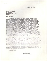 Letter from Katherine Anne Porter to Robert Penn Warren, March 25, 1967