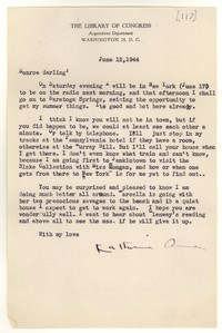Letter from Katherine Anne Porter to Monroe Wheeler, June 12, 1944