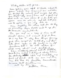 Letter from Katherine Anne Porter to Genevieve Taggard, October 31, 1924