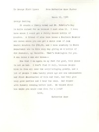 Letter from Katherine Anne Porter to George Platt Lynes, March 16, 1944