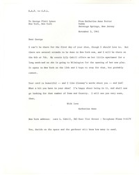 Letter from Katherine Anne Porter to George Platt Lynes, November 03, 1941