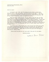 Letter from Katherine Anne Porter to George Platt Lynes, April 14, 1933