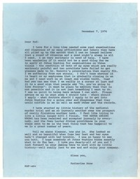 Letter from Katherine Anne Porter to Robert Penn Warren, December 07, 1976