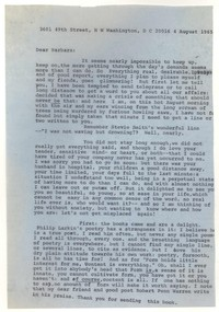 Letter from Katherine Anne Porter to Barbara Thompson Mueenuddin Davis, August 04, 1965