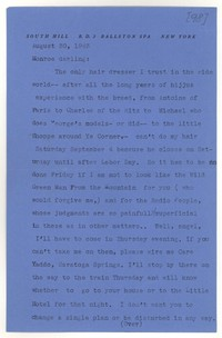 Letter from Katherine Anne Porter to Monroe Wheeler, August 30, 1943