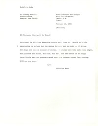 Letter from Katherine Anne Porter to Glenway Wescott, February 20, 1955