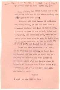 Letter from Katherine Anne Porter to William Goyen, April 12, 1952
