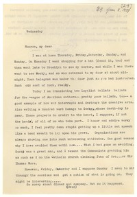 Letter from Katherine Anne Porter to Monroe Wheeler, June 02, 1937