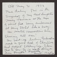 Letter from Katherine Anne Porter to Paul Porter Jr., May 31, 1972