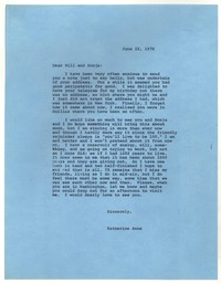 Letter from Katherine Anne Porter to William Jay Smith and Sonja Smith, June 22, 1976