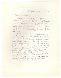 Letter from Katherine Anne Porter to George Platt Lynes, October 27, 1944