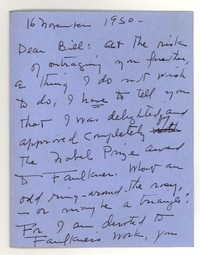 Letter from Katherine Anne Porter to William Humphrey, November 16, 1950