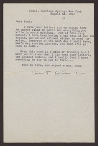 Letter from Katherine Anne Porter to Paul Porter Jr., August 01, 1941