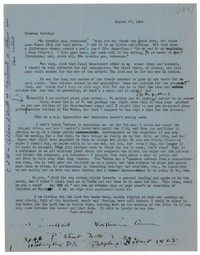 Letter from Katherine Anne Porter to Glenway Wescott, August 27, 1944