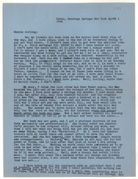 Letter from Katherine Anne Porter to Monroe Wheeler, April 01, 1942