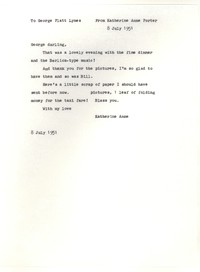 Letter from Katherine Anne Porter to George Platt Lynes, July 08, 1951