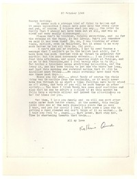 Letter from Katherine Anne Porter to George Platt Lynes, October 20, 1948