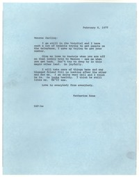 Letter from Katherine Anne Porter to Monroe Wheeler, February 08, 1977