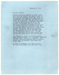 Letter from William R. Wilkins to John Malcolm Brinnin, February 25, 1977